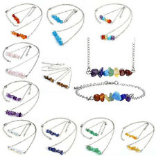 Jewelry Set Gift Silver Irregular Gemstone Chakra Neckalce & Bracelet Womens NEW