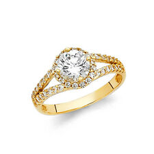 14k Solid Yellow Gold 1.25 Ct Diamond Engagement Ring Round Cut Solitaire