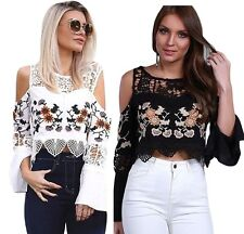 Beautiful White Black Crochet Cold Shoulder Bell Sleeve Womens Top Shirt Casual