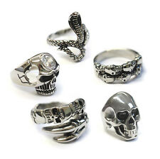 23mm size Z +3 Men's Stainless Steel Big Skull Rings, Metal Biker Ring Plus size
