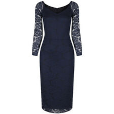 PRETTY KITTY 40s Vintage Long Sleeve Navy Blue Lace Wiggle Bodycon Pencil Dress