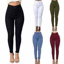 Womens Casual Stretch Jeans Pencil Pants Ladies High Waist Slim Skinny Trousers