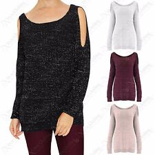 NEW LADIES LUREX KNIT COLD SHOULDER STUD JUMPER WOMEN CUT OUT SLEEVE KNITTED TOP
