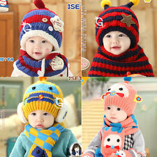 Baby Boys Girls Kids Winter Warm Hats Scarf Set Cute Knitted Beanie Caps Earflap