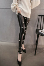 Women's Pants PU Leather Casual Thicken Thicken Leggings Long Trousers