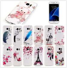 Ultra Thin For iPhone Moto Sony TPU Clear Pattern Gel Back Soft Case Cover Skin