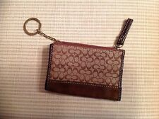 Coach Zip top Change Purse with CC  fabric/suede  bottom Keyring inside