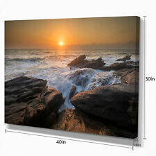 Design Art 'Sunset Over Rocky Seashore' Photographic Print on Wrapped Canvas