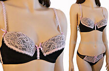 Satin Ribbons Bra Thong Set Black Multi w Pink Contrast Lace Padded Cups STN-BLK