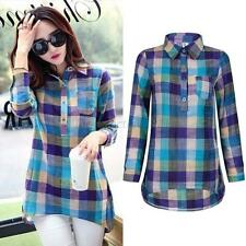 Classic Women Ladies Plaid Checked Long Sleeve Casual Loose T shirt Tops Blouse