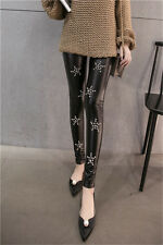 Women Pants Black PU Leather Casual Thicken Slim Leggings Skinny Trousers