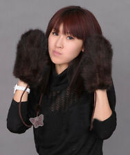 Best christmas gift real mink fur knitted mittens gloves black brown With String