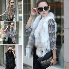 Women's 100% Knitted Real Farms Rex Rabbit Fur Waistcoat Vest Gilet Furry Beauty
