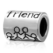 Genuine Solid 925 Sterling Silver FRIEND Charm Bead
