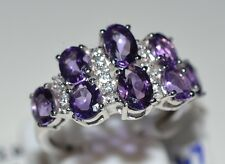 Genuine Amethyst, White Topaz Pure 92.5 Solid Sterling Silver Cluster Ring 7 US