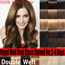 """AAAAA Real Double Weft Clip In Remy Human Hair Extension Full Head 160g 22"""" X006"""