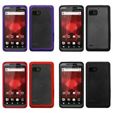 For Motorola XT875 (Droid Bionic) Clear/Solid Purple Gummy Case Cover