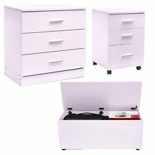 Chest of 3 Drawers Bedroom Draws Furniture Hallway Solid Storage Cabinet Unit UK