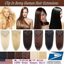 AU 7PCS Deluxe Thick Clip In 100%Real Human Hair REMY Hair Extensions Full Head