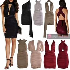 NEW LADIES CELEBRITY STYLE SEXY MULTIWAY SLINKY RUCHED WRAP DRESS UK 6-14