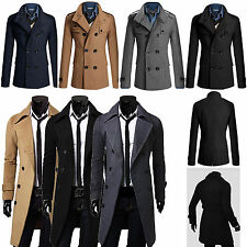 Men's Winter Long Jacket Slim Formal Trench Coat Double Breasted Parka Outwear