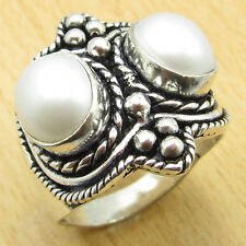 Fashion ANTIQUE STYLE, 925 Silver Plated FRESH WATER PEARL Ring Size US 9 NEW