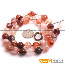 Handmade Red Rutilated Quartz Crystal Beaded Long Necklace Fashion Jewelry Gift
