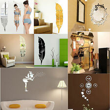 DIY Gold Silver Modern Mirror Wall Sticker Removable Decal Home Room Art Decor