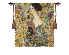 Gustav Klimt's Lady With Fan Imported Decorative Woven Tapestry Wall Hanging