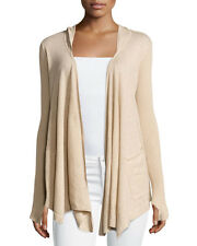 Minnie Rose Cotton Hooded Open-Front Duster Cardigan, Camel Beige- Vince