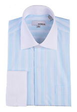 Mens Light Blue Striped With White Contrast Collar & French Cuff Dress Shirt