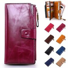 Women Lady GENUINE Leather Party Clutch Wallet Card Holder Long Purse Zipper Bag