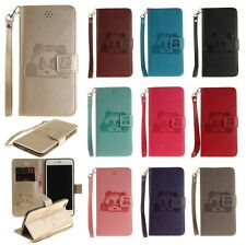 Embossing Panda Leather Flip Stand Wallet Case Cover For iPhone Samsung w/ Strap