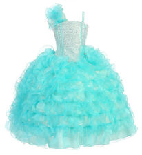 Flower Girl Dress Ruffle Sparkle Bodice and Elastic Back Pageant Dress