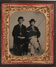 Occupational MAN HOLDING DAGUERREOTYPE CAMERA RARE 6th Plate Ruby Ambrotype