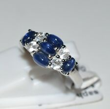 Genuine Blue Sapphire, White Topaz Pure 925 Solid Sterling Silver Ring Size 7 US