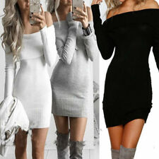Sexy Womens Off Shoulder Long Sleeve Winter Knit Bodycon Party Sweater Dress