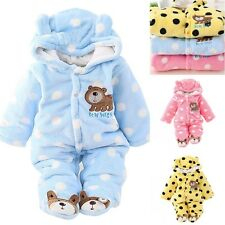 Newborn Baby Girl Boy Winter One Piece Clothes Romper Polka Dots Outwear Outfits