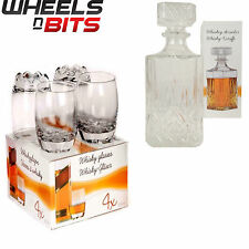 New GLASS WHISKEY WINE TUMBLERS & SQUARE glass DECANTER BOTTLE BOXED SET