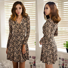 Womens Stylish V-neck Floral Print See-through Lace Long Sleeves Mini Dress 6233