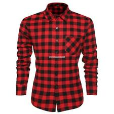 Men Long Sleeve Plaid Shirt Grid Fit Slim Casual  Shirts Tops clothes