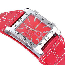 UNISEX Watches Leather Band Attractive Square Dial Analog Wrist Watch Quartz CN