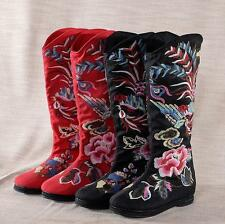 Women's Embroidery Floral Ethnic Mid-calf Boots Folk Round Toe Wedgs shoes Size