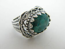 Sterling Silver Statement Ring Oval Turquoise Gemstone Intricate Crown Setting