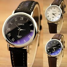 Casual Womens Mens Luxury Quartz Analog Watch Silver Leather Band Wrist Watches