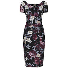 40s BLACK FLORAL BODYCON WIGGLE PENCIL VINTAGE PROM PARTY COCKTAIL DRESS 8-18