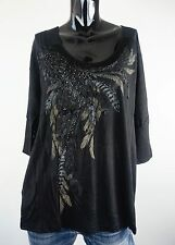 NEW MISS ME SHIRT S-M-L JMT738 BLACK FEATHER TOP W/DETAIL AT FRONT*