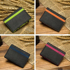 CREDIT CARD MENS SLIM FAUX LEATHER WALLET ID MAGIC STUNNING HOLDER MONEY CLIP