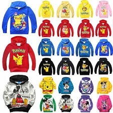 Kids Pikachu Hoodies Boys Girls Cartoon Sweatshirt Pullover Sports Top 2T-10T