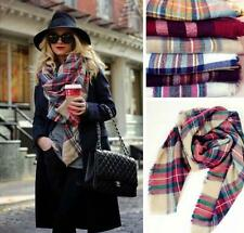 Lady Blanket Oversized Tartan Scarf Wrap Shawl Women Plaid Cozy Checked Pashmina